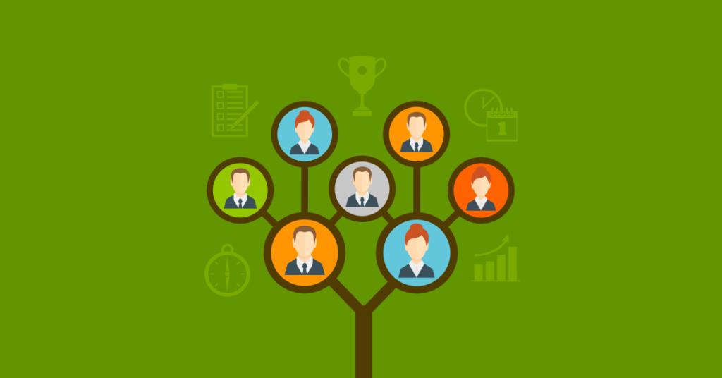 Imagem ilustrativa com ícones de pessoas interligadas em formato de árvore sobre fundo colorido.