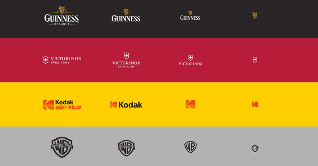 Imagem com exemplos de logotipos responsivos (adaptáveis).
